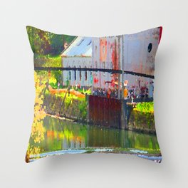Pointillism: Snoqualmie Falls Throw Pillow