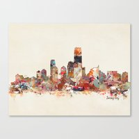 new jersey Canvas Prints featuring jersey city new jersey by bri.buckley