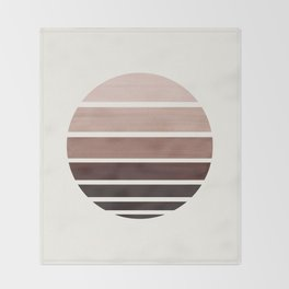 Raw Umber Minimalist Mid Century Modern Watercolor Stripes Sunset Circle Abstract Pattern Throw Blanket