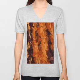 brown and dark brown painting abstract background Unisex V-Neck
