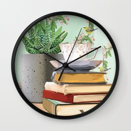 Tea and book love Wall Clock