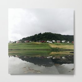 few houses on the lake in Norway Metal Print
