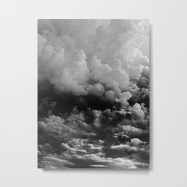 White fluffy Clouds Black And White photo Metal Print
