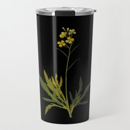Brassica Muralis Mary Delany Delicate Paper Flower Collage Black Background Floral Botanical Travel Mug