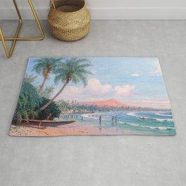 Waikiki Beach, Diamond Head, Oahu landscape painting by D. Howard Hitchcock Rug