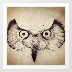 Deconstructed Owl Face Art Print