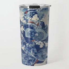 traditional Japanese ukiyo-e style illustration of a well-dressed courtesan Travel Mug