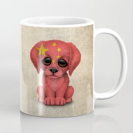 Cute Puppy Dog with flag of China Coffee Mug