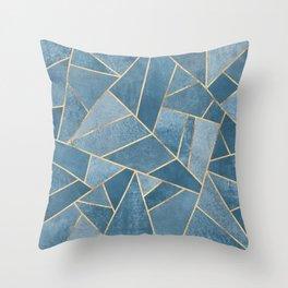 Dusk Blue Stone Throw Pillow
