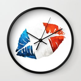 French Flag Lips Wall Clock