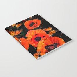 ORANGE MONARCH BUTTERFLIES POPPY GARDEN ART Notebook