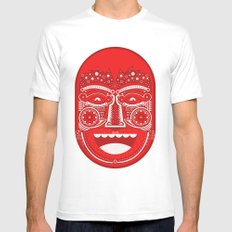 Red Is Mad MEDIUM White Mens Fitted Tee