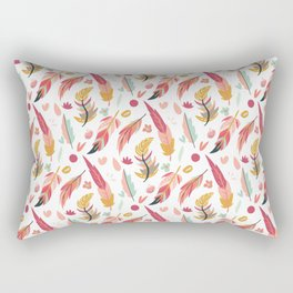Bohemian pastel pink orange teal hand painted feathers Rectangular Pillow