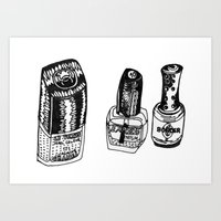 nail polish Art Prints featuring Nail Polish by BUMMERAMA