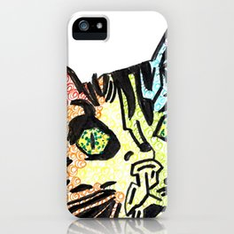 Rainbow cat head iPhone Case
