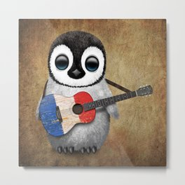 Baby Penguin Playing French Flag Guitar Metal Print