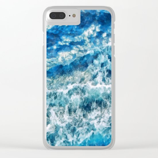 Sea foam waves Clear iPhone Case