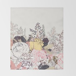 Miles and miles of rose garden. Retro floral pattern in vintag style Throw Blanket