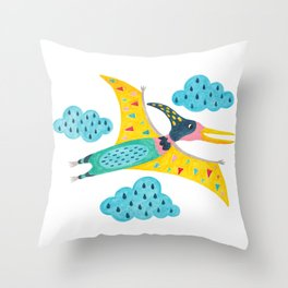 pterodactyl flying high in the sky Throw Pillow