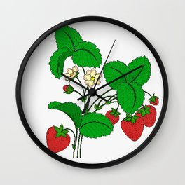 Strawberries for Breakfast Wall Clock