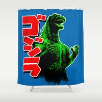 godzilla Shower Curtains featuring Godzilla by leea1968