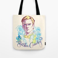downton abbey Tote Bags featuring RIP Matthew Crawley, of Downton Abbey.  by Erin Gallagher Illustration and Design