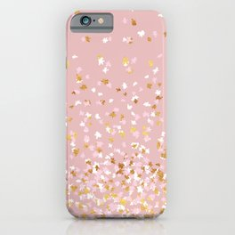Floating Confetti - Pink Blush and Gold iPhone Case