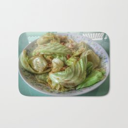 Stir-fry homemade organic Cabbage with chili pepper and garlic in oyster sauce. Bath Mat