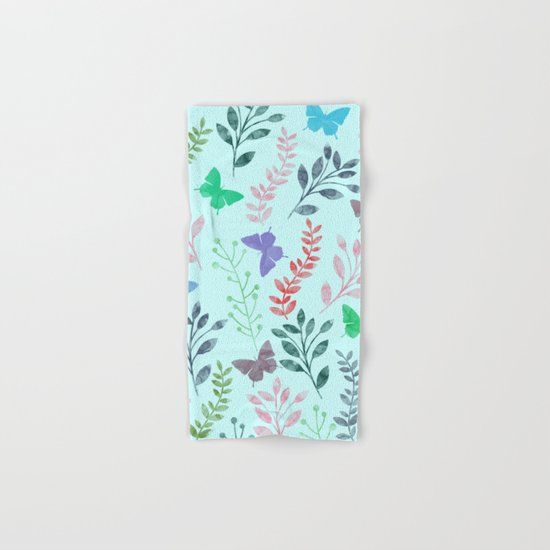 Watercolor flowers & butterflies II Hand & Bath Towel