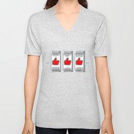 Jackpot / Slot machine hitting three thumbs up Unisex V-Neck