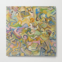 Abstract Maze of Green and Gold Metal Print
