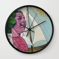 sailing Wall Clocks featuring Sailing by busymockingbird