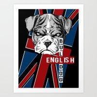 english bulldog Art Prints featuring English Bulldog by Det Tidkun