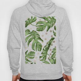 Simply Tropical White Gold Sands Dots and Palm Leaves Hoody