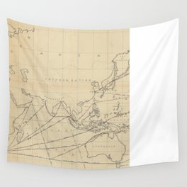 Vintage Map of The World (1848) 2 Wall Tapestry