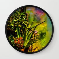 cacti Wall Clocks featuring Cacti   by Ashley Hirst Photography
