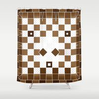 donkey Shower Curtains featuring  Pixel Donkey by HK Chik