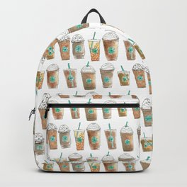 Coffee Cup Line Up in White Cream Backpack