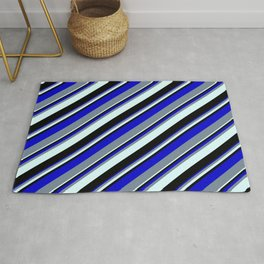 Blue, Light Slate Gray, Light Cyan, and Black Colored Lined/Striped Pattern Rug