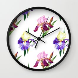 Irises Neck Gator Purple and Blue Iris Wall Clock