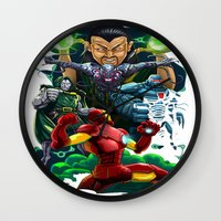 ironman Wall Clocks featuring Ironman by Vincent Trinidad