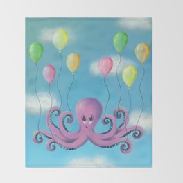 When Octopi Fly Throw Blanket