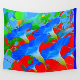 BLUE MORNING GLORY FLOWERS ABSTRACT RED ART Wall Tapestry