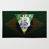 brazil Area & Throw Rugs featuring bitcon Brazil by seb mcnulty