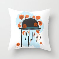 tom waits Throw Pillows featuring Tom Waits by Laura Shaffer