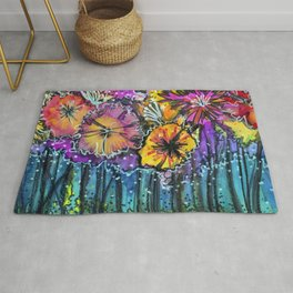 Flowers Only Fireflies See Rug