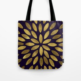 Classic Golden Flower Leaves Pattern Tote Bag