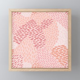 Brush Strokes Abstract Pattern, Coral, Pink and Peach Framed Mini Art Print