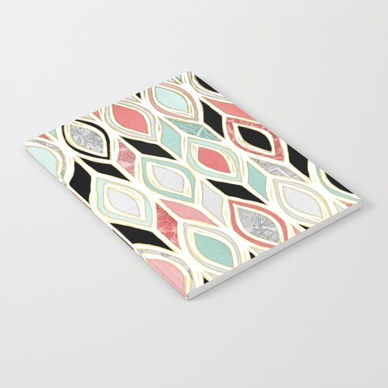 Patchwork Pattern in Coral, Mint, Black & White Notebook