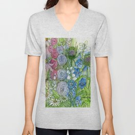 Rainbow Garden Watercolor Ink Painting Unisex V-Neck